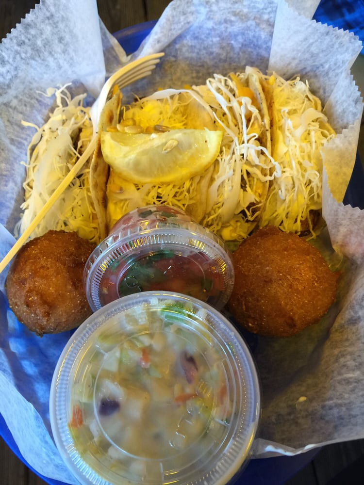 Fish Tacos With Hush Puppies And Cole Slaw Yelp