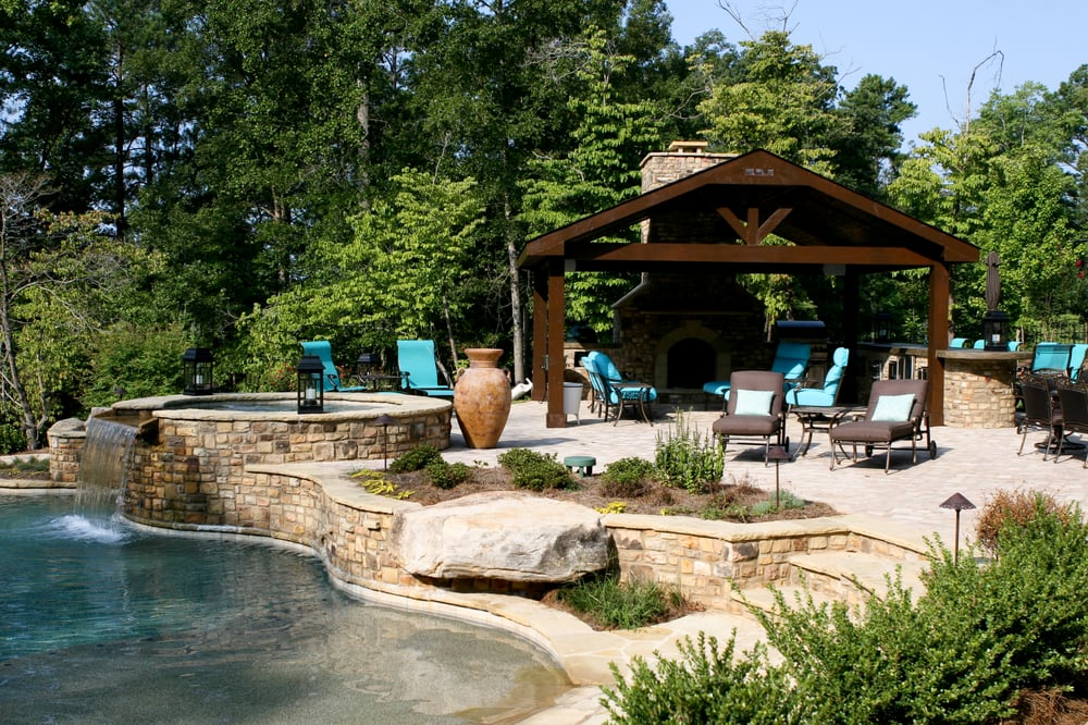 Georgia classic pool cabana outdoor living kitchen for Outdoor pool cabana