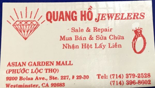 Quang Ho Jewelry Repair 9200 Bolsa Ave Westminster CA Jewelers