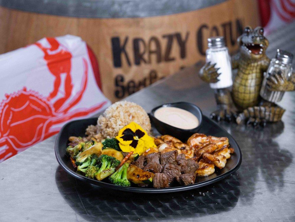 Food from Krazy Cajun Seafood & Hibachi