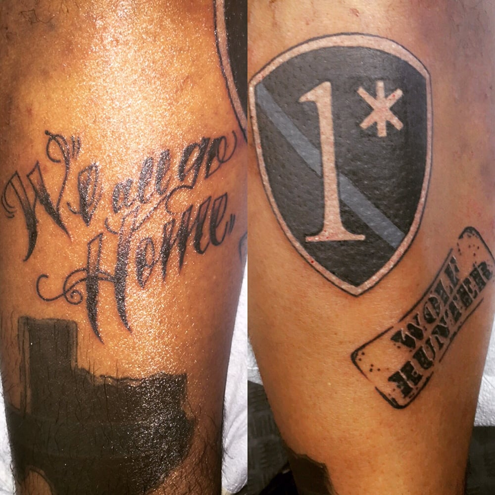 Got The Shield The Stamp And We All Go Home Tattoos Done On My