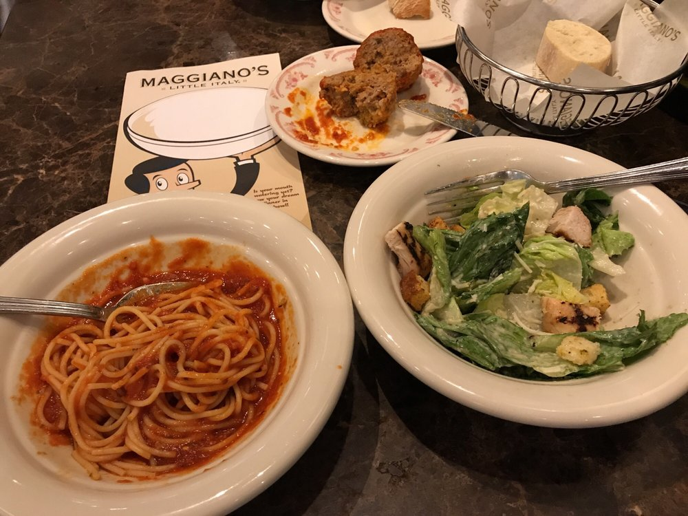 Ordered The Typical But Very Traditional Lunch Fare Spaghetti With Giant Meatball Marinara