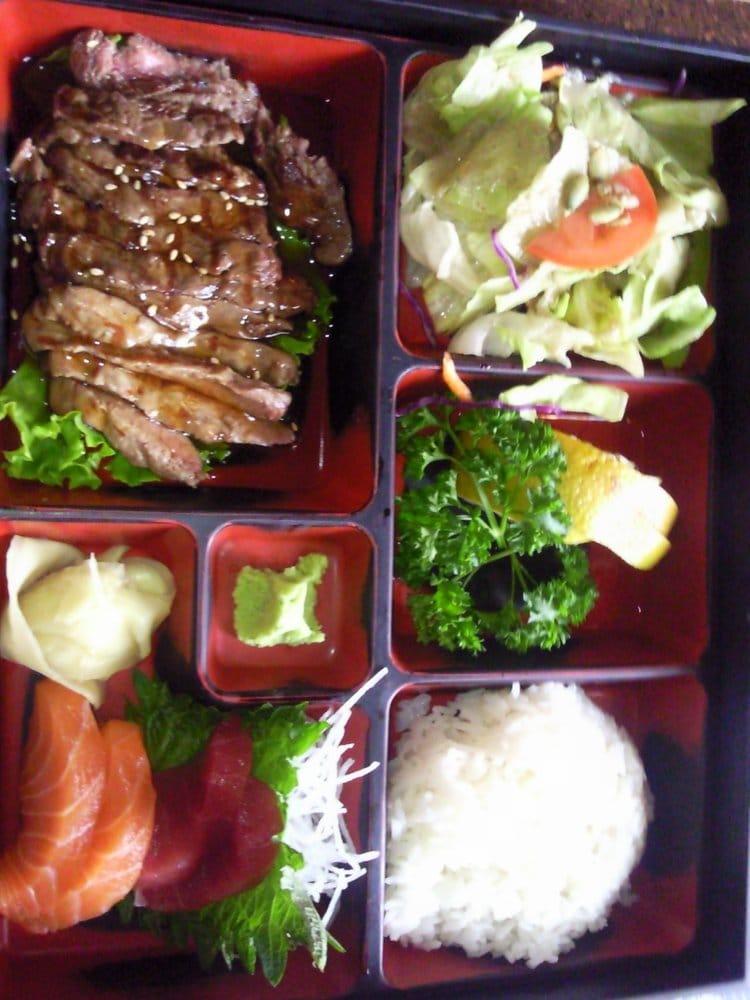 beef teriyaki w sashimi bento box lunch yelp. Black Bedroom Furniture Sets. Home Design Ideas