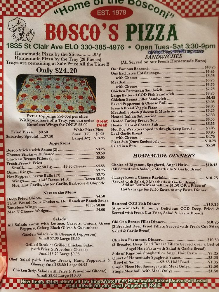 Bosco's Pizza: 1835 Saint Clair Ave, East Liverpool, OH