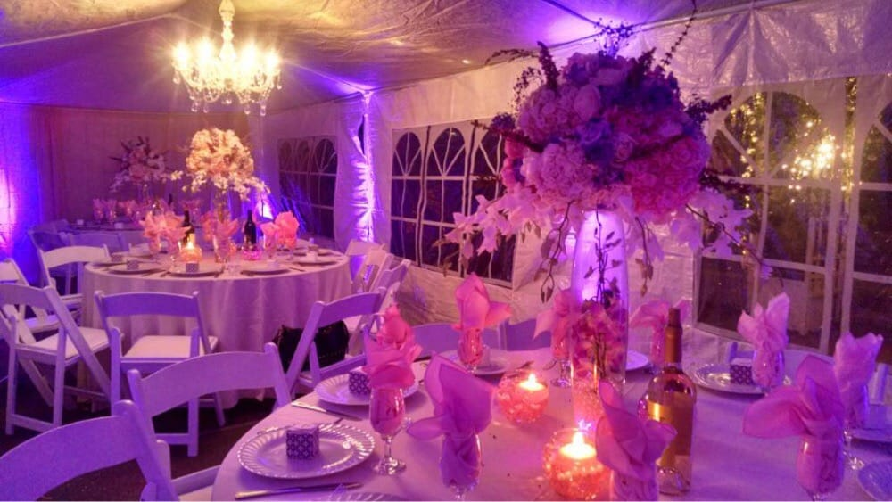 Birthday party using Burbank Party Rentals tables chairs linens