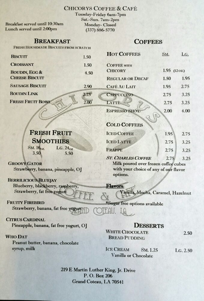 Chicory Cafe Grand Coteau Menu