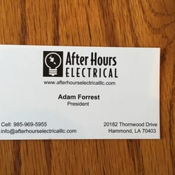 After hours electrical electricians 20182 thornwood dr hammond photo of after hours electrical hammond la united states business card reheart Images