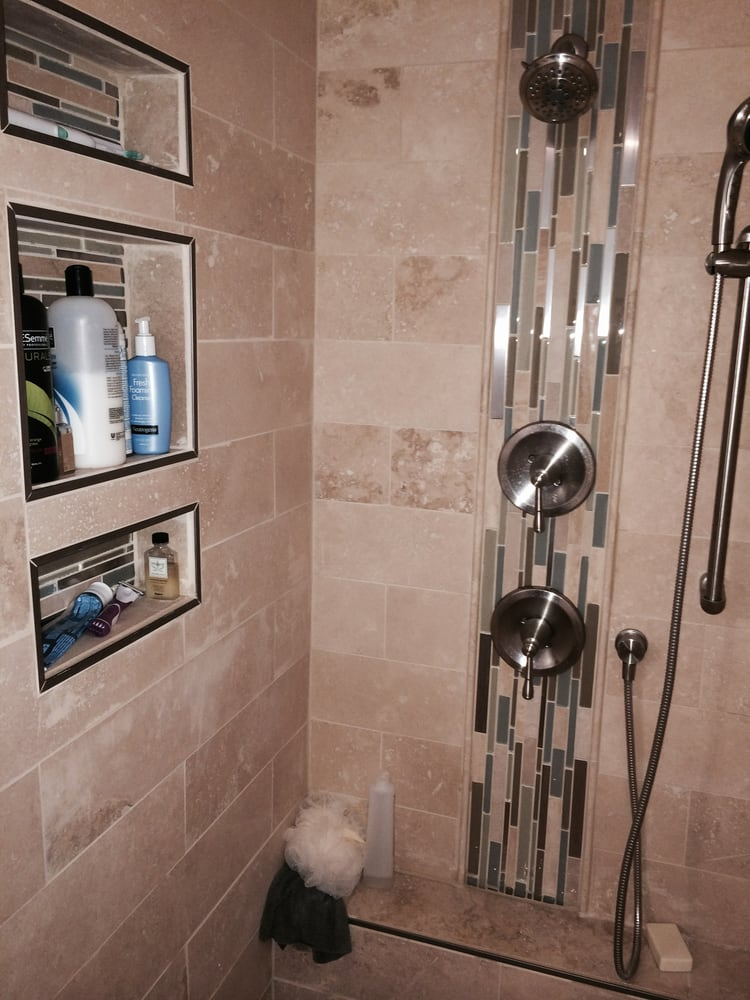 Travertine In Shower With Accent Pieces Yelp
