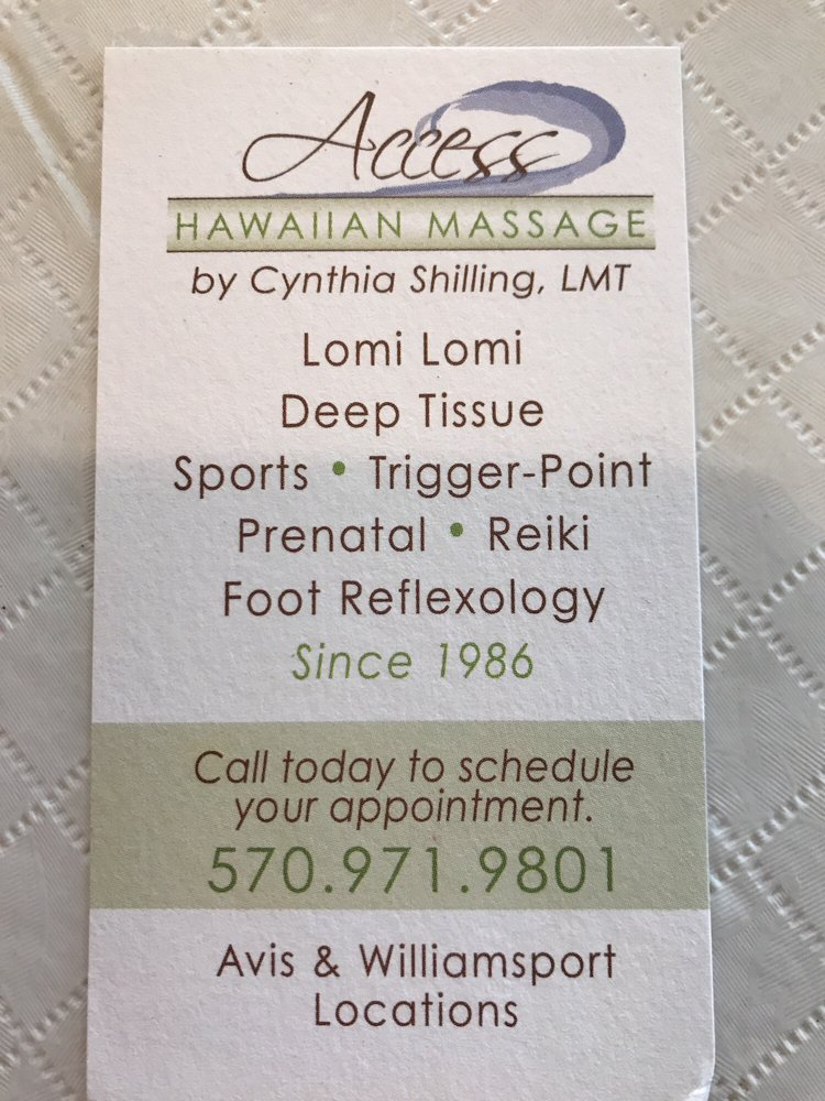 Access Hawaiian Massage: 123 Prospect Ave, Avis, PA