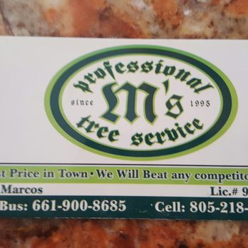 Ms professional tree service tree surgeons for Business cards bakersfield