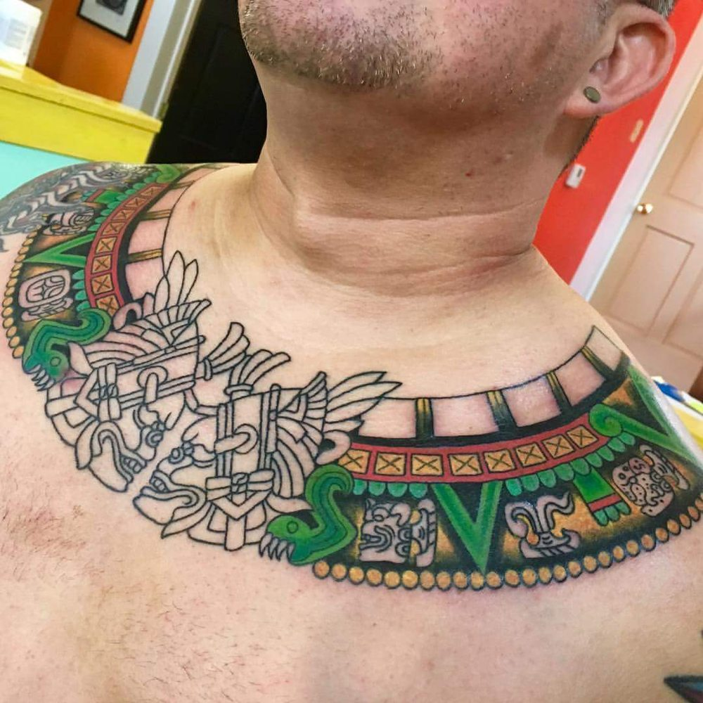 Mayan Collar Tattoo After 2 Sittings. I'm Amazed At Jamie