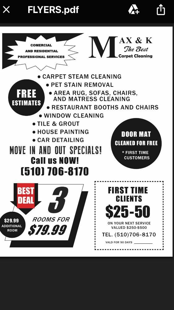 Max & K Carpet Cleaning: Antioch, CA