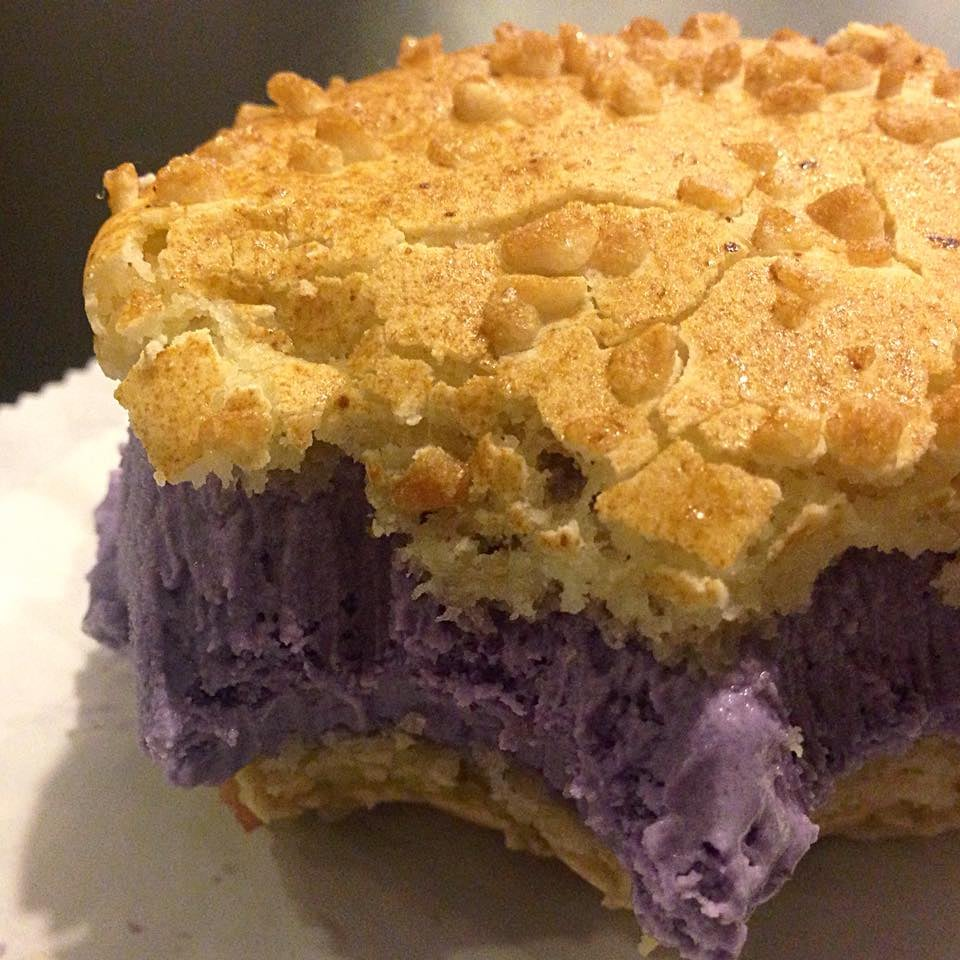 Purple Yam Ube Ice Cream Between A Birthday Cake Macaron And A