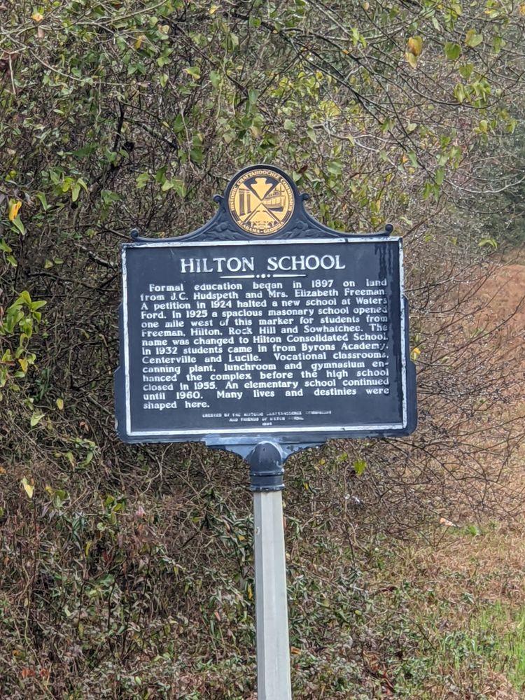 Hilton School Historical Marker: Martin Rd & Columbia Hwy, Blakely, GA
