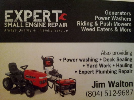 Expert small engine repair appliances repair 2303 decatur st a photo of expert small engine repair richmond va united states business card reheart Images