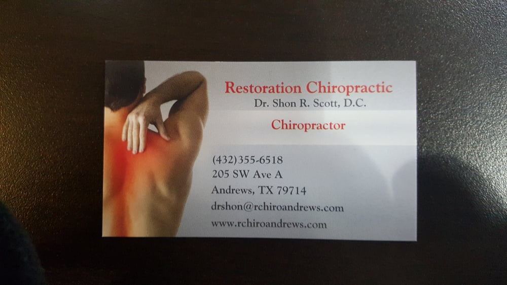 Restoration Chiropractic: 205 SW Ave A, Andrews, TX