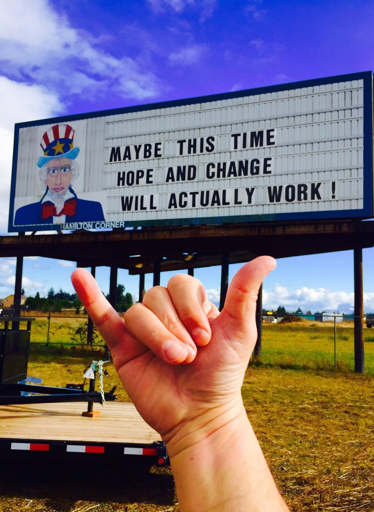 Uncle Sam Right Wing Billboard: I-5 - Exit 72 - Rush Rd, Chehalis, WA
