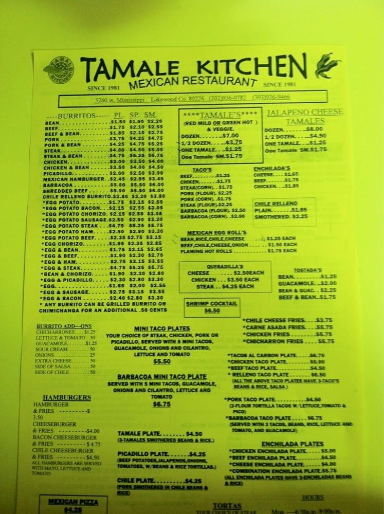 Tamale Kitchen Lakewood Menu