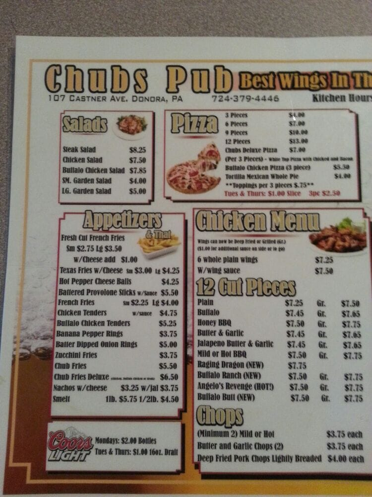 Chub's Pub: 107 Castner Ave, Donora, PA