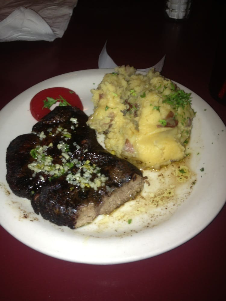 Well Done Filet Mignon with Crazy Potatoes and a slice of ...