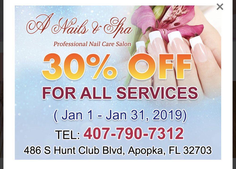 A Nails & Spa: 486 S Hunt Club Blvd, Apopka, FL