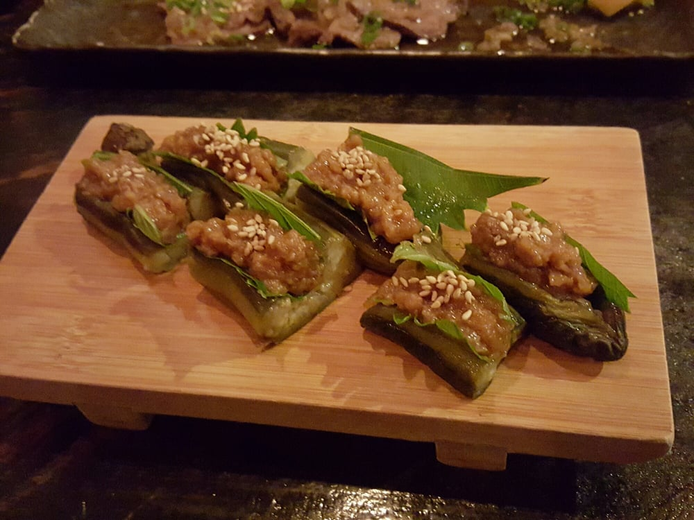 Fried eggplant stuffed with miso pork....dont be surprised like i was ...