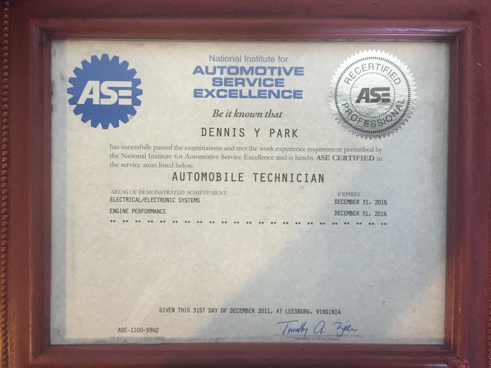 Ase Certified To Ensure Professional Work And Quality Smog Check