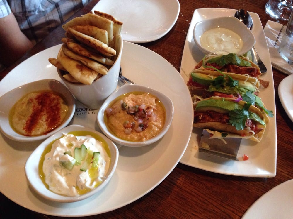 Mediterranean plate and ahi tuna tacos two appetizers i love yelp - Elite cuisine kansas city ...