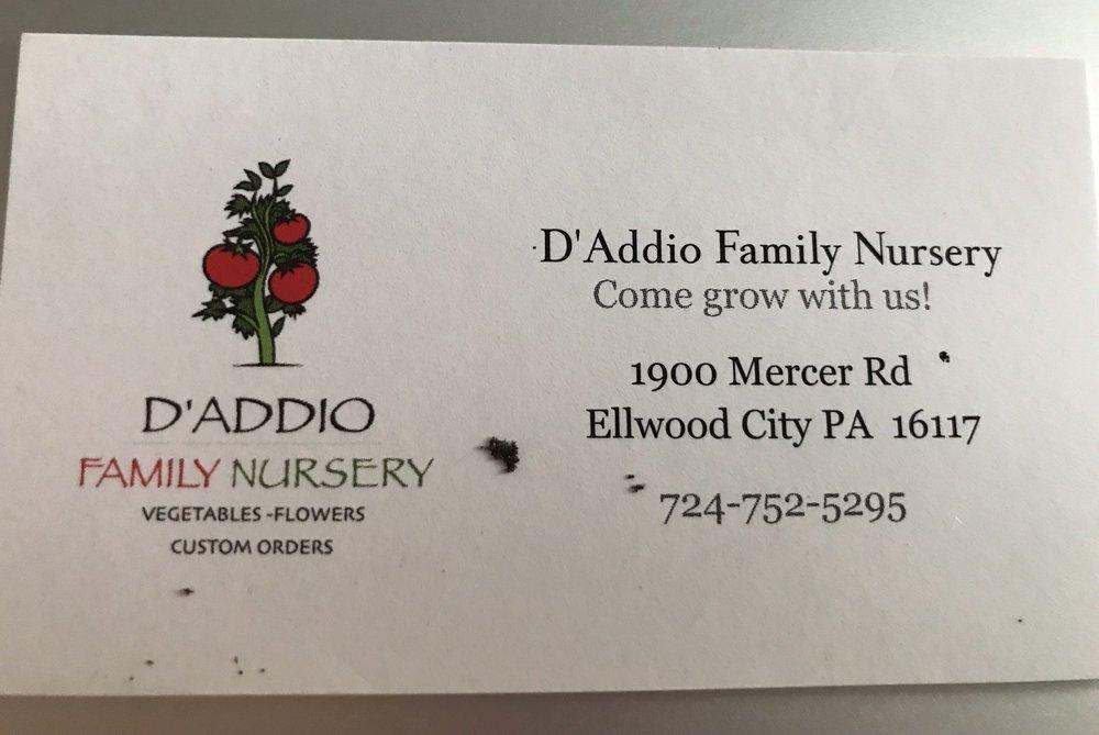 D'addio's Family Nursery: 1905 Mercer Rd, Ellwood City, PA