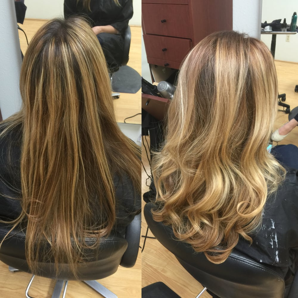 Colored Dark Warm Ash Blonde Base With Blush Blonde Balayage