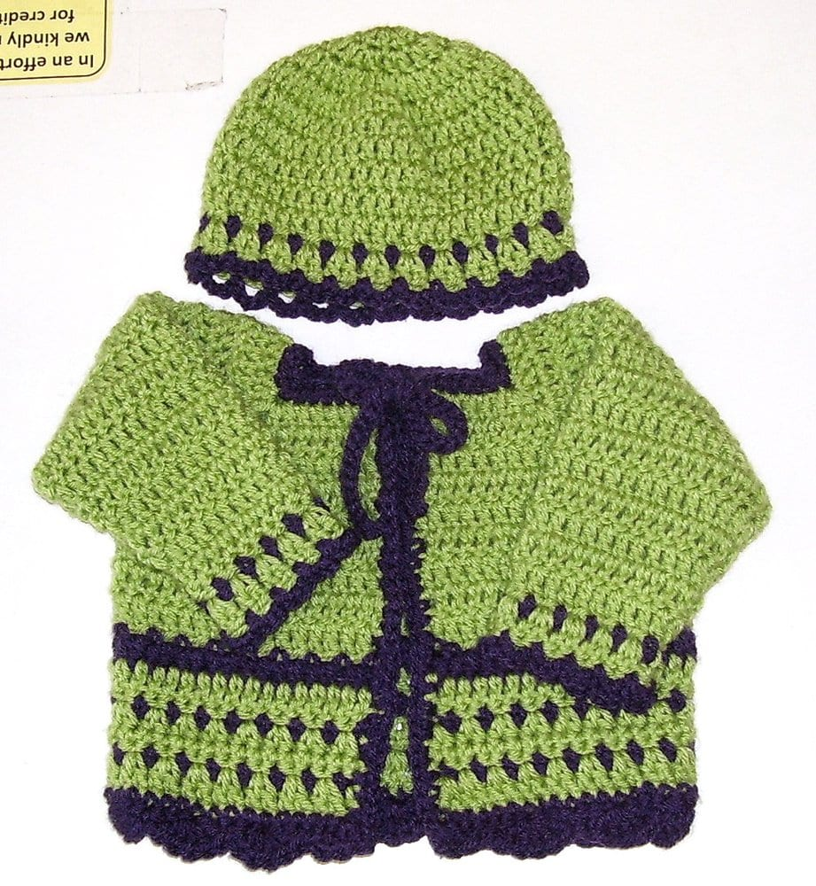 Deb Sullivan Originals Baby Hand Crocheted Baby Sweater Sets 30