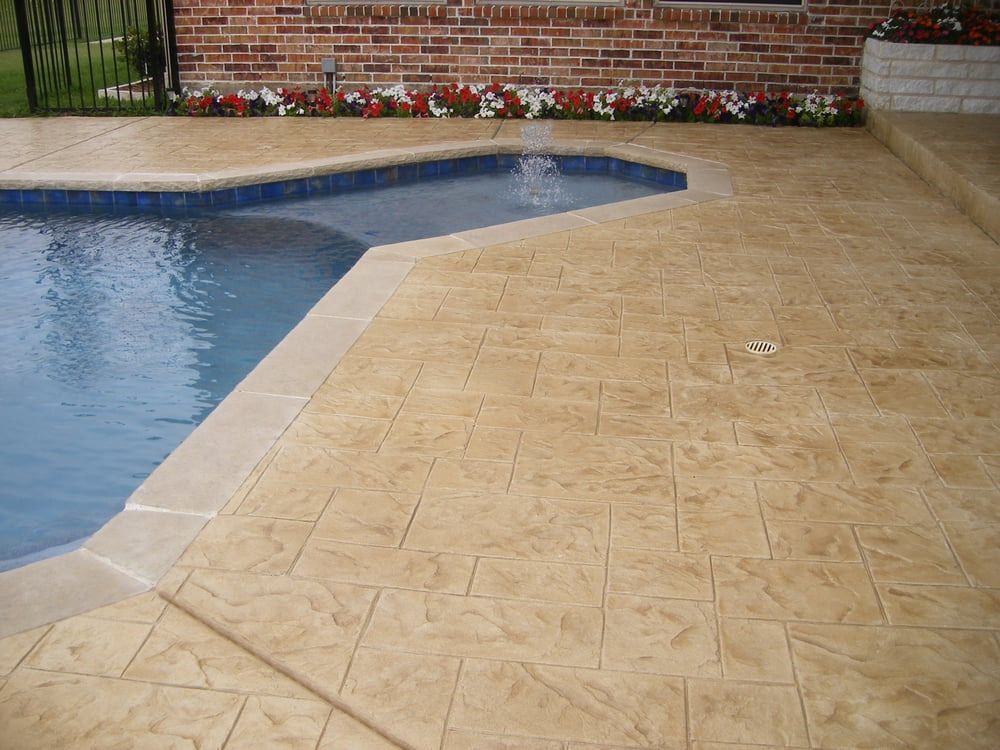 Boss Resurfacing 39 S Mega Crete Hd Stamped Concrete Ashlar Roman Slate Stamped Concrete Pool Deck