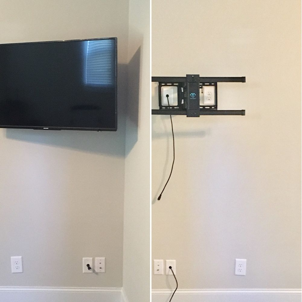 Media Tv Wiring Trusted Diagram Wall Mount Concealed Cables Mounted On Cantilever Bracket Electric Verizon Fios Diagrams