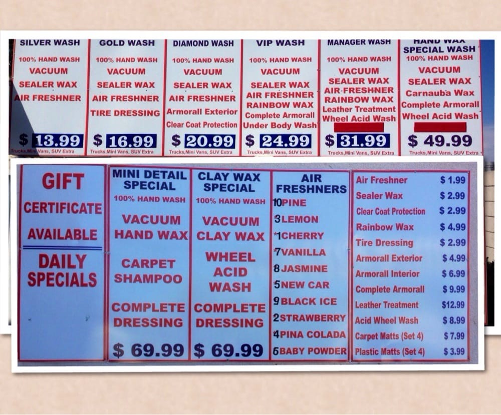 New car wash prices as of july 1 2014 yelp for Acure eco salon prices
