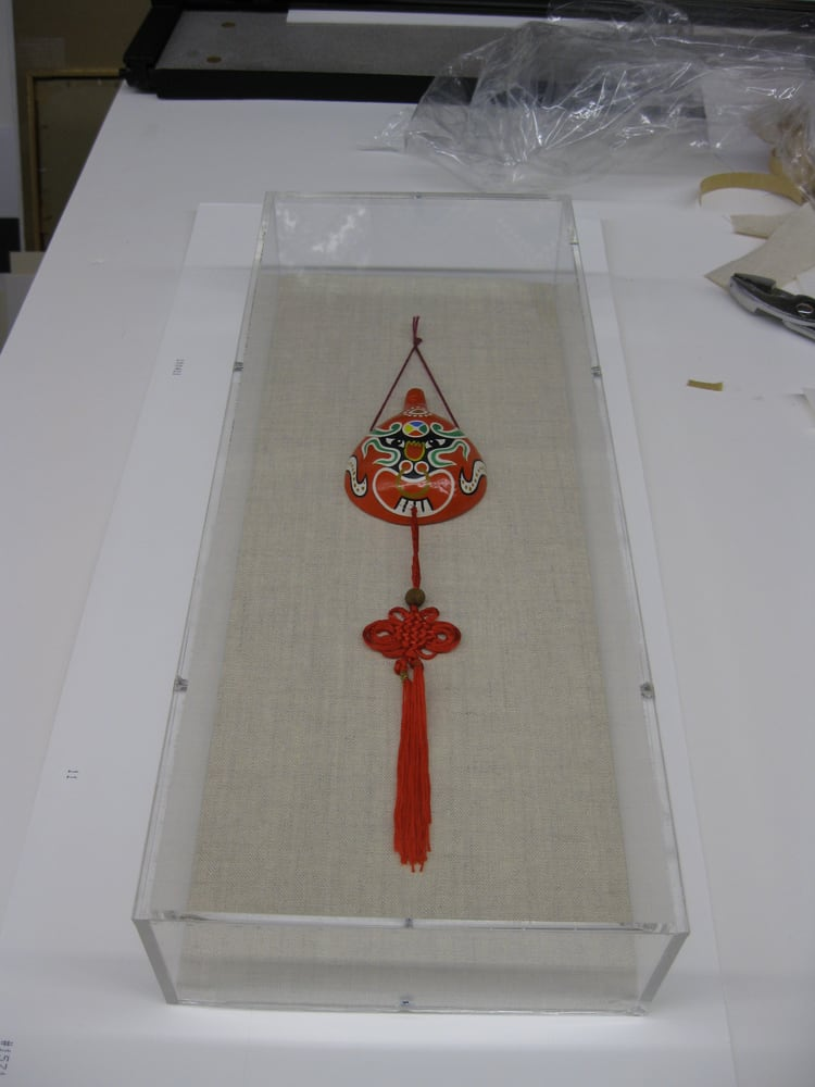 Miniature Chinese Mask In An Archival Acrylic Box Frame