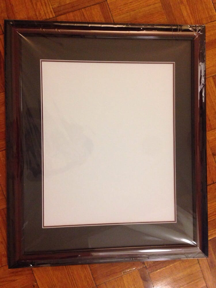 14 x 17 frame came in one piece. No scratches or anything. I was ...