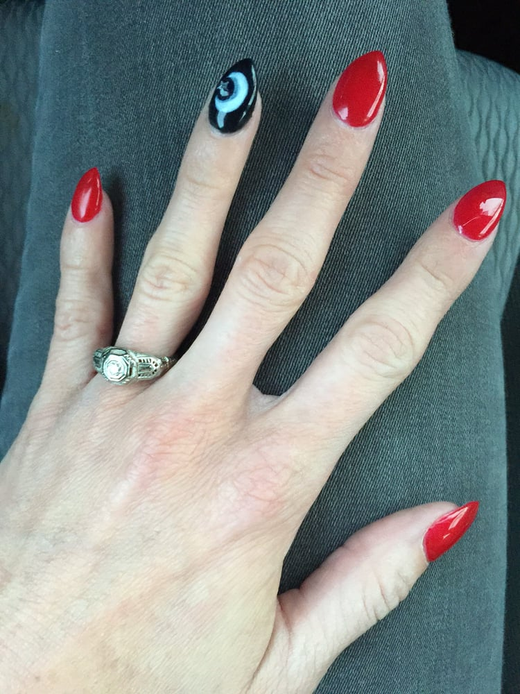 Nails By Thuy She Rocked The Red Almond Shape Black