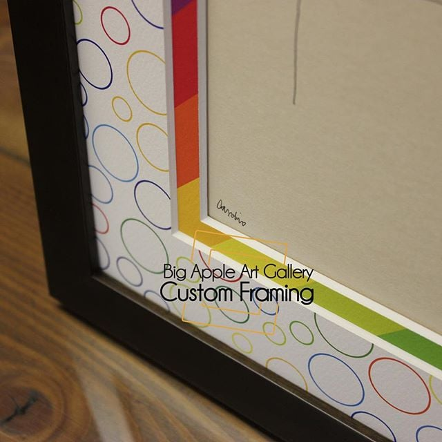 Rainbow Matting! Yes, we can do that. Corner detail #customframing ...