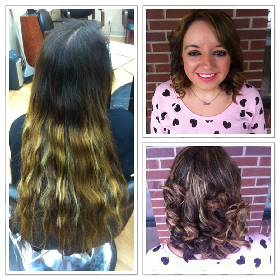 Before And After Caramel Highlights And Haircut By Stephanie