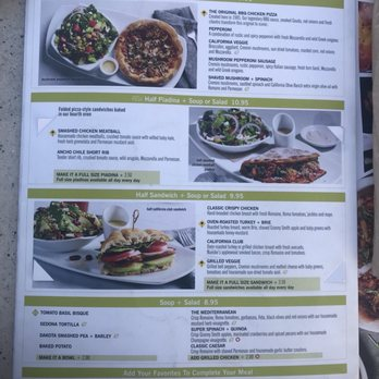 California Pizza Kitchen Menu San Antonio Tx