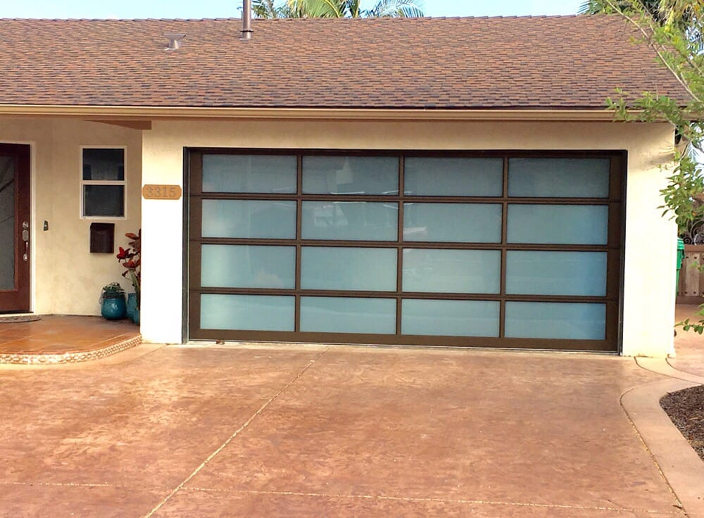 Avante collection white laminate glass bronze anodized frame bay park yelp - Glass garage doors san diego ...