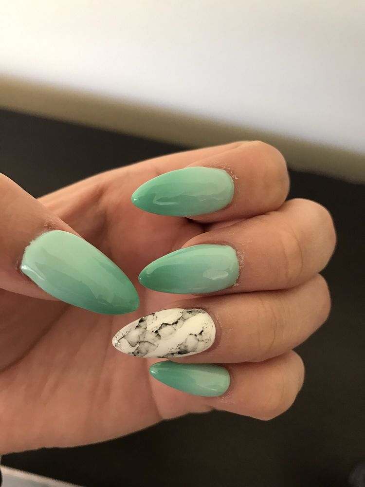 Almond shape with color changing nail polish and marble design on ...