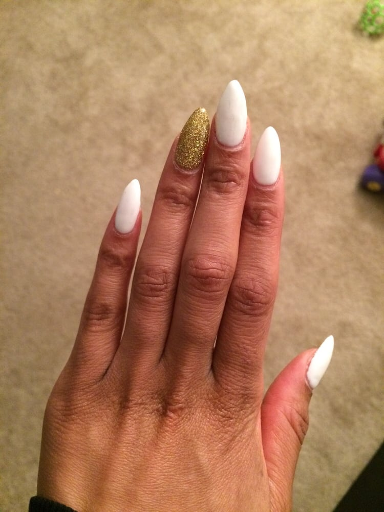 White gel pointed nails with gold glitter accent nail. I love Happy ...