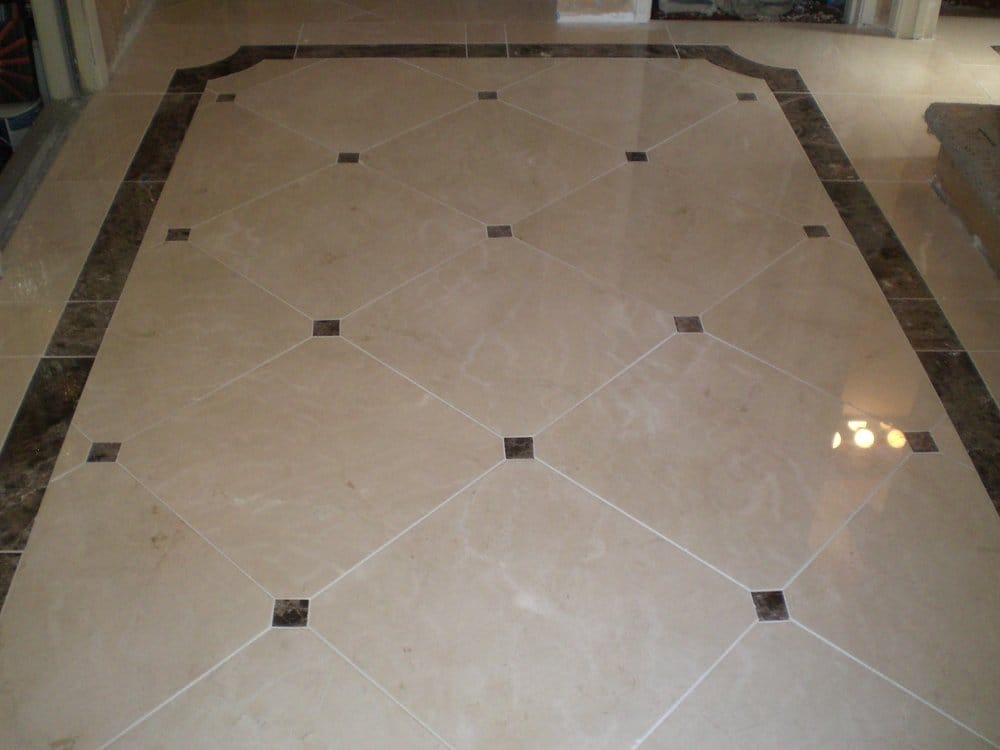 Custom marble floor with 3 39 39 x3 39 39 clipped corners with for 12x12 floor tile designs