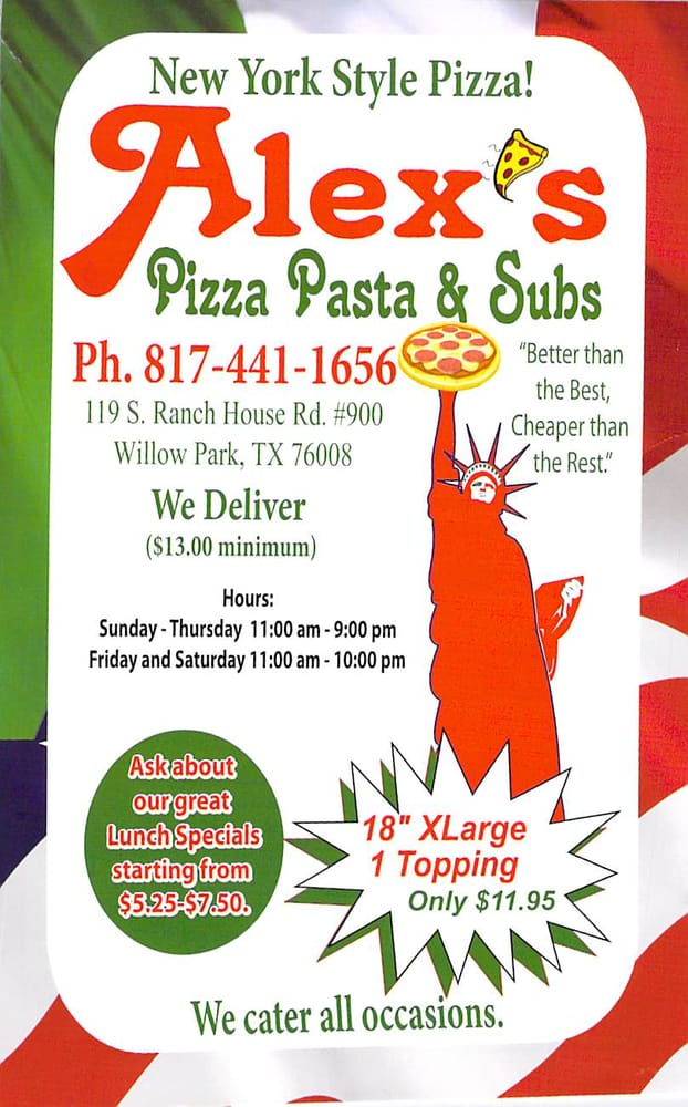 Alex's Pizza, Pasta & Subs: 119 S Ranch House Rd, Willow Park, TX