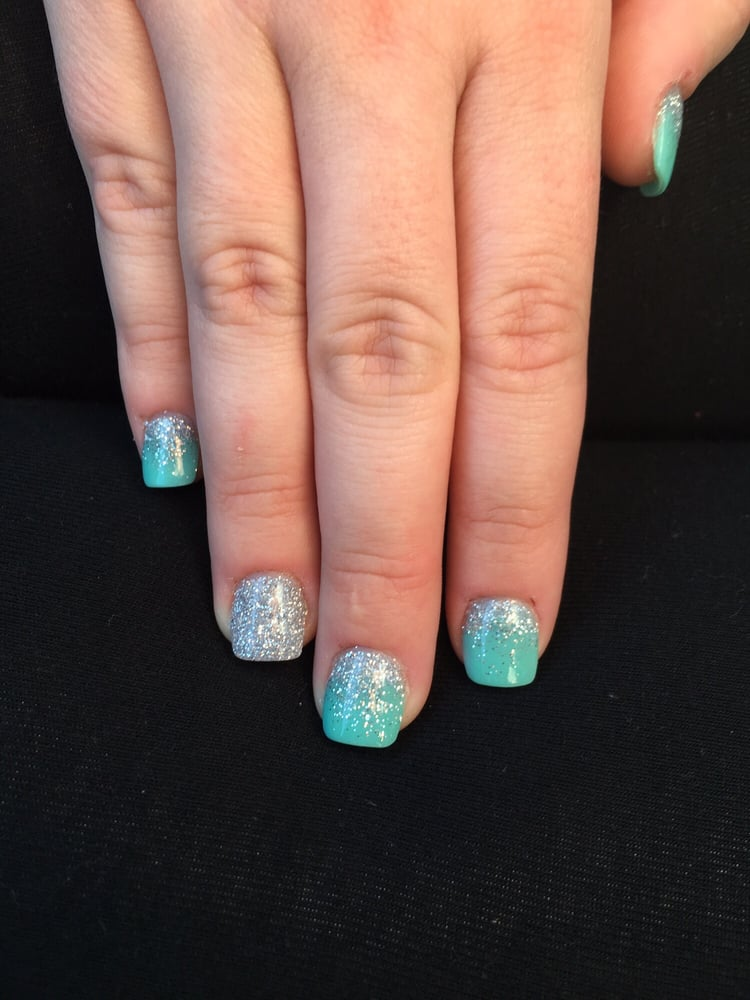Tiffany blue NexGen nails with silver glitter ombré and full silver ...