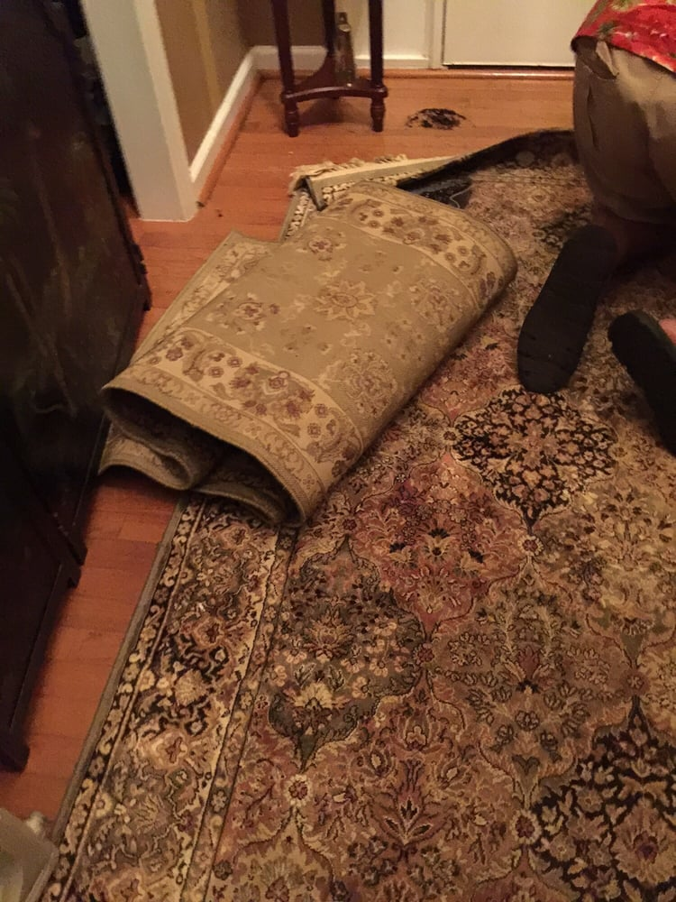 Rugs left in main foyer pathway and my husband fell - Yelp
