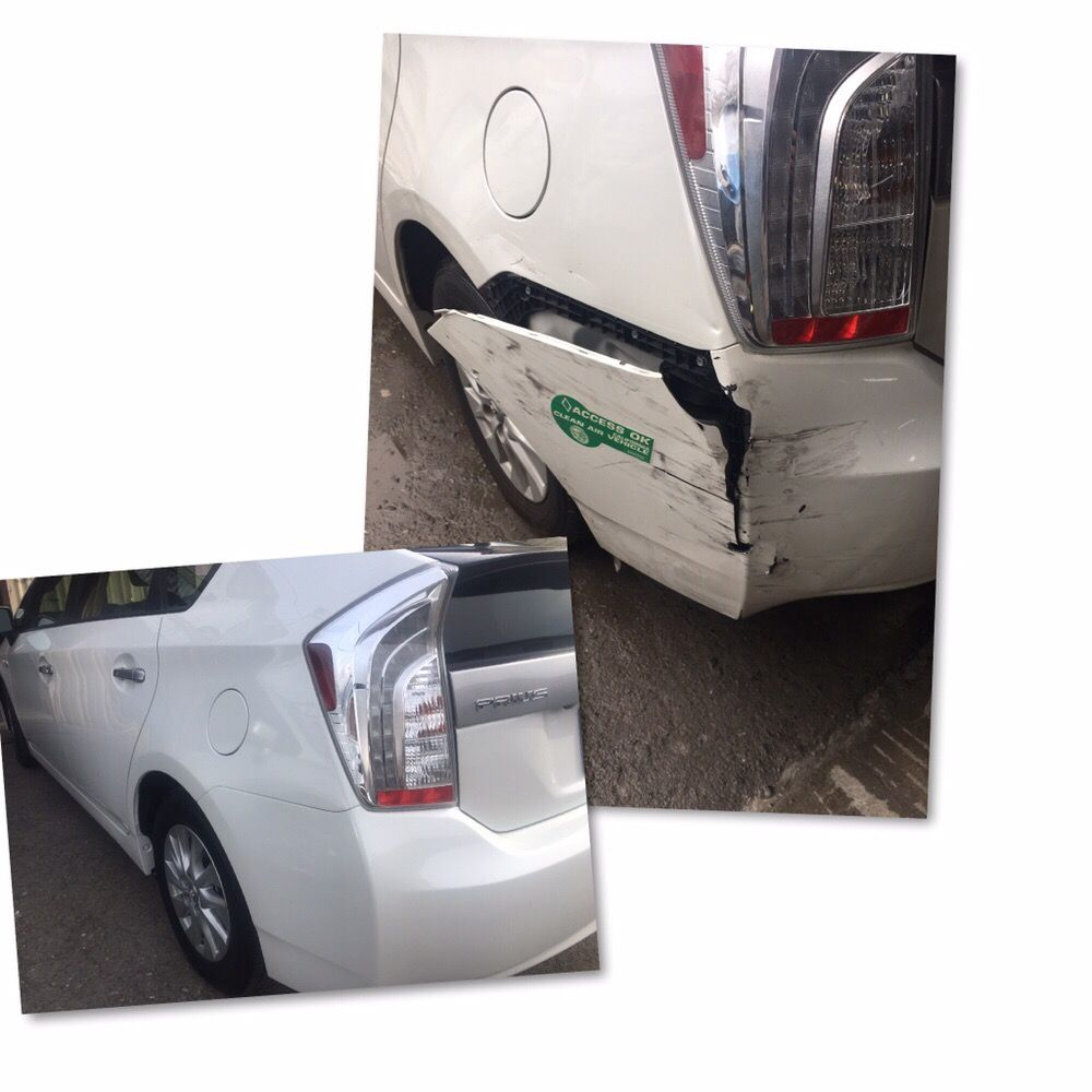 prius bumper repair  2014 Toyota Prius plug-in left rear damage before and after - Yelp