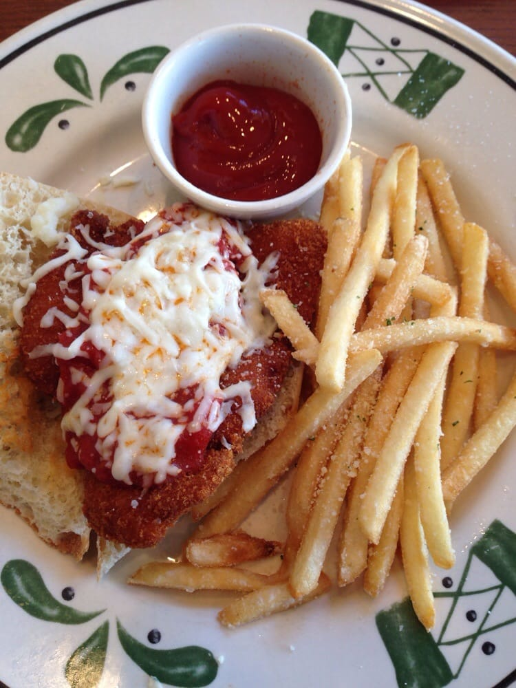 Chicken parmigiana sandwich with garlic fries - Yelp