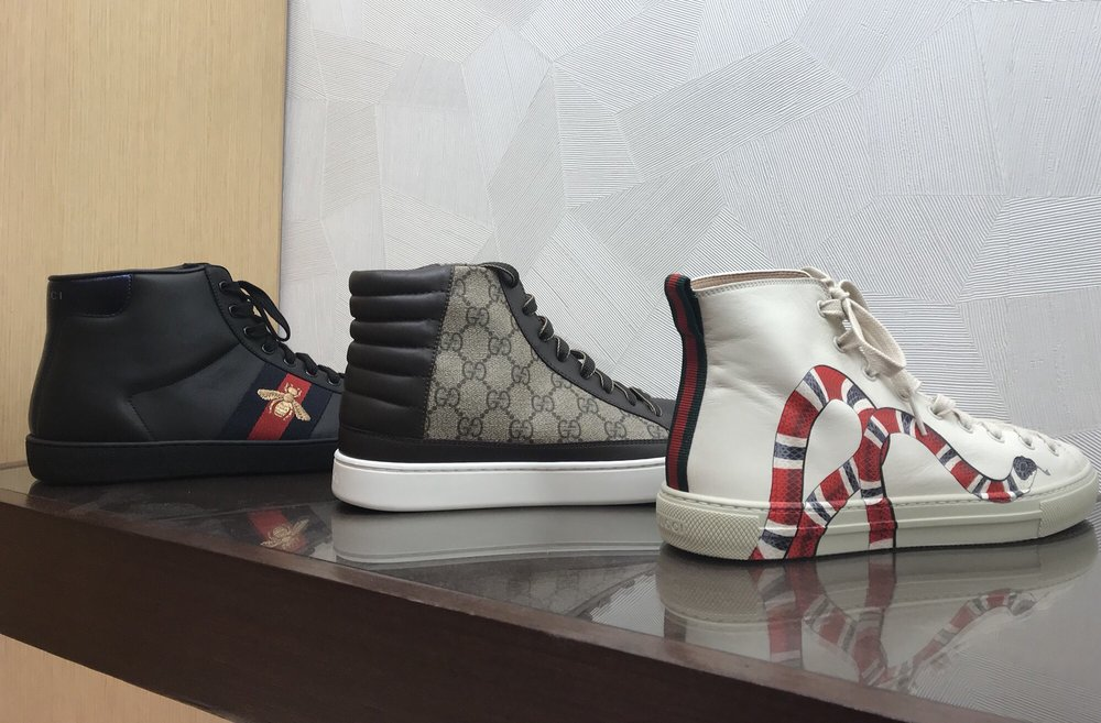 d2248641d01 Watch out! You got a snake on your shoe bro! Mens Gucci high top ...